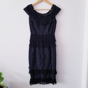 Adrianna Papell Black Fringe Ruffle Cocktail Dress